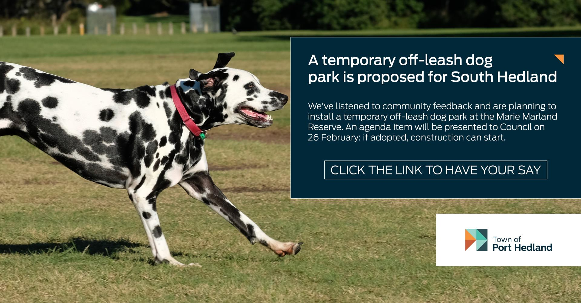 Have Your Say on Off-leash Dog Park in South Hedland